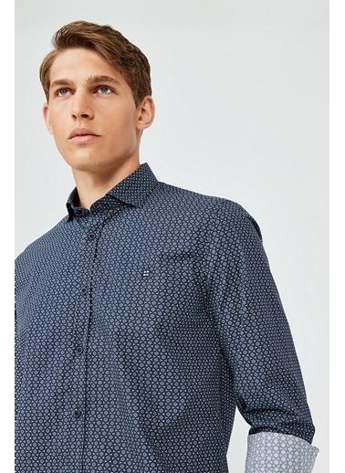 Avva Erkek  Baskılı Gömlek A02Y2073 Lacivert